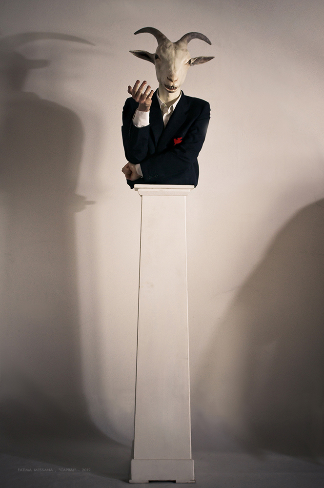 Fatima Messana, CAPRA! , 2012, vetroresina, stoffa Sgarbi , vince premio nazionale delle arti
