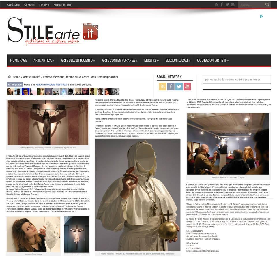 """STILE ARTE """"Fatima Messana, bimba sulla Croce. Assurde indignazioni"""""""