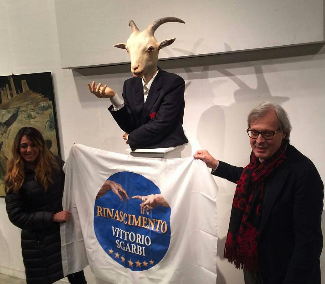 La Capra nazionale con Vittorio Sgarbi alla mostra OLTRE IL LIMITE, a cura di Sabrina Colle, presso il Centro Arti Visive Pescheria Pesaro - Fatima Messana - Rinascimento Sgarbi